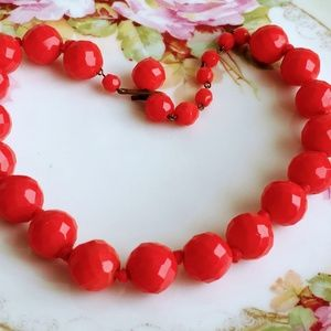 Vintage Faceted Opaque red Glass Beaded Choker